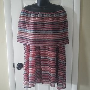 CATHERINES Striped Off shoulder Plus Dress NWT 3X